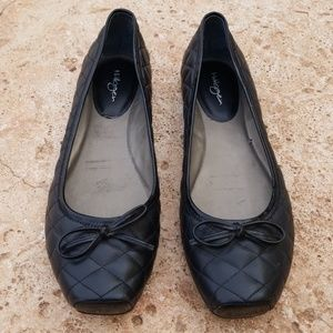 Halogen Black Bow Quilted Ballet Flats 8.5